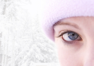 Close-up of a blue eyed female outside in winter(focus on eye)